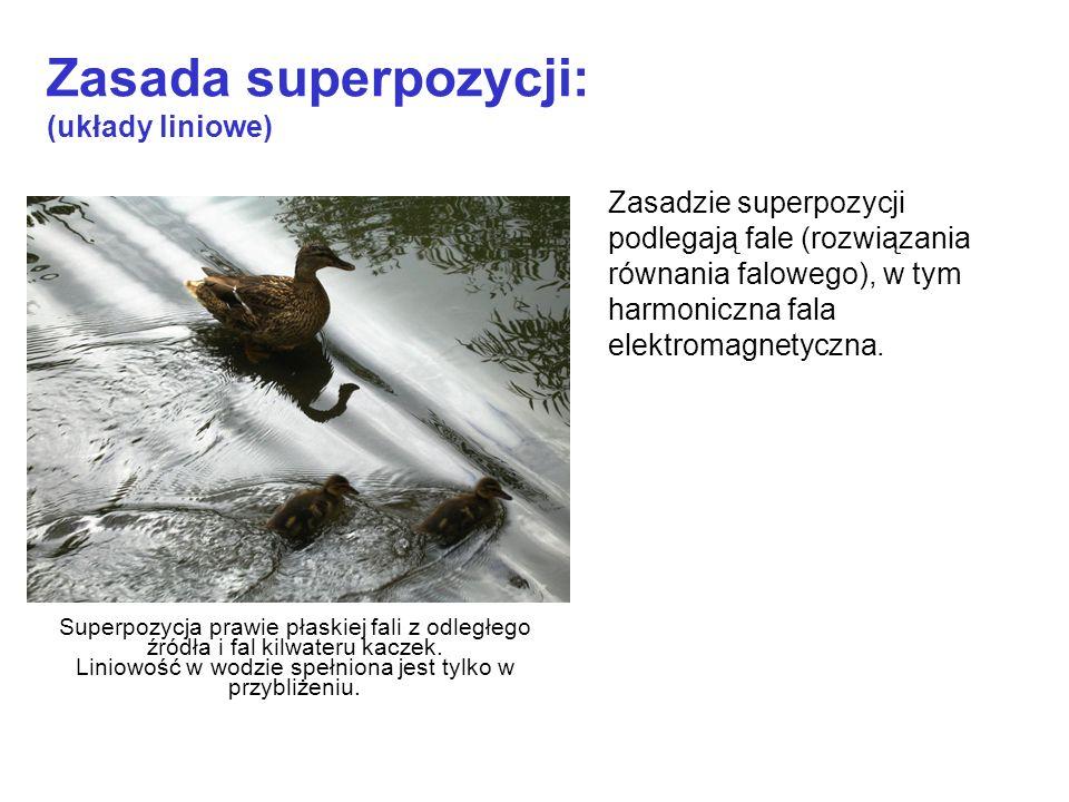 Zasada superpozycji: (układy liniowe) Zasadzie superpozycji podlegają fale (rozwiązania równania falowego), w tym harmoniczna fala elektromagnetyczna.
