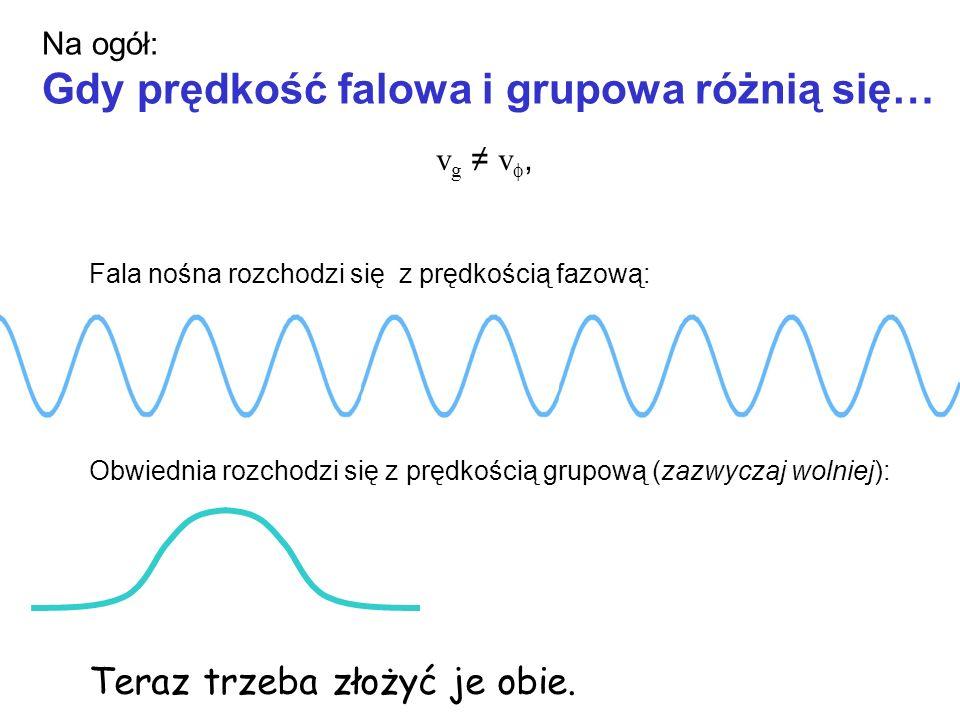 Na ogół: Gdy prędkość falowa i grupowa różnią się… v g v, Fala nośna rozchodzi się z prędkością fazową: Obwiednia rozchodzi się z prędkością grupową (