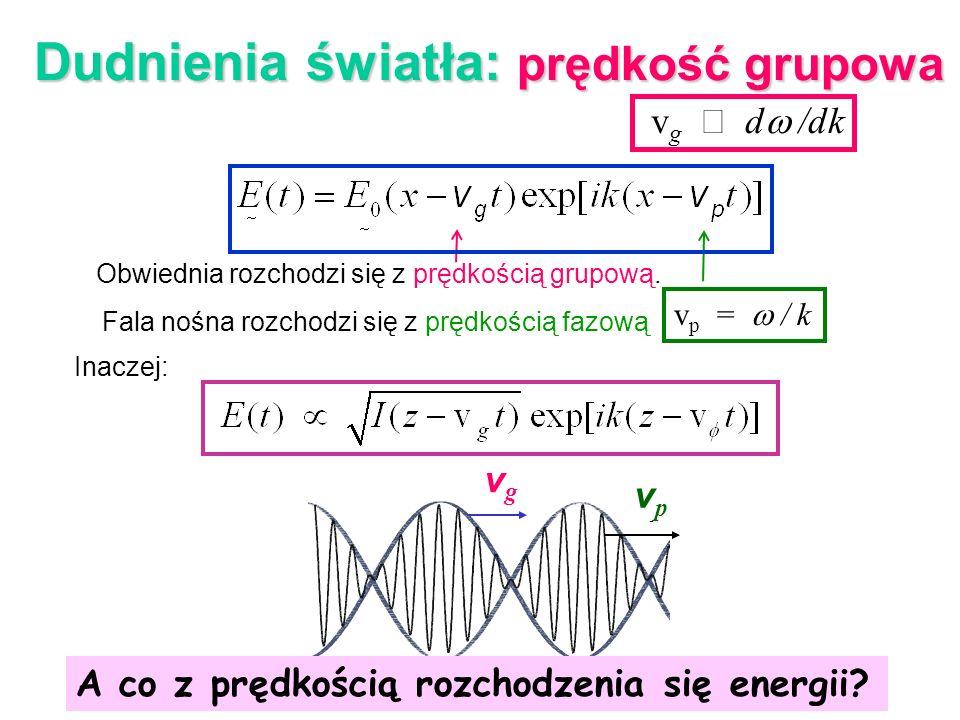 v g vpvp v g d /dk Dudnienia światła: prędkość grupowa Obwiednia rozchodzi się z prędkością grupową. Fala nośna rozchodzi się z prędkością fazową v p
