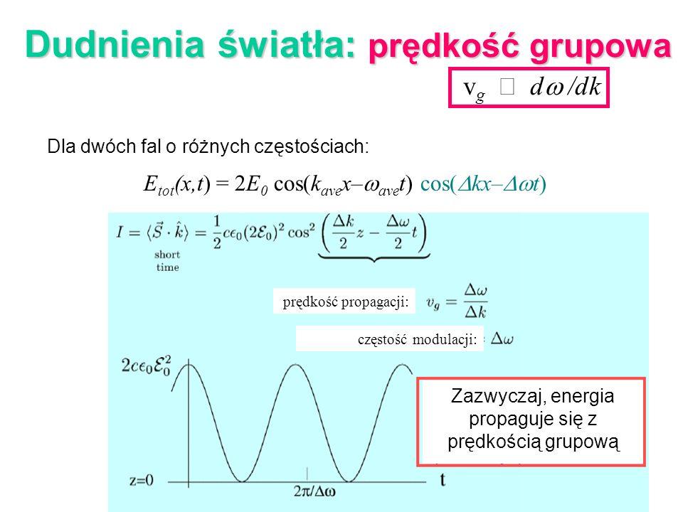 v g d /dk Dudnienia światła: prędkość grupowa Dla dwóch fal o różnych częstościach: E tot (x,t) = 2E 0 cos(k ave x– ave t) cos( kx– t) Zazwyczaj, ener