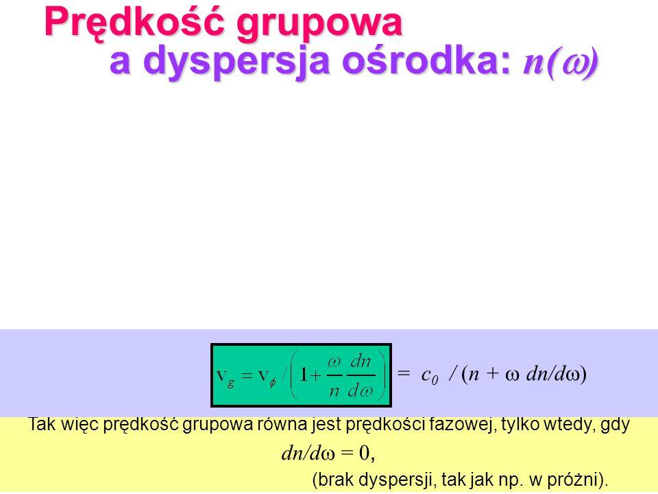 Tak więc prędkość grupowa równa jest prędkości fazowej, tylko wtedy, gdy dn/d = 0, (brak dyspersji, tak jak np. w próżni). v g = c 0 / (n + dn/d ) Prę