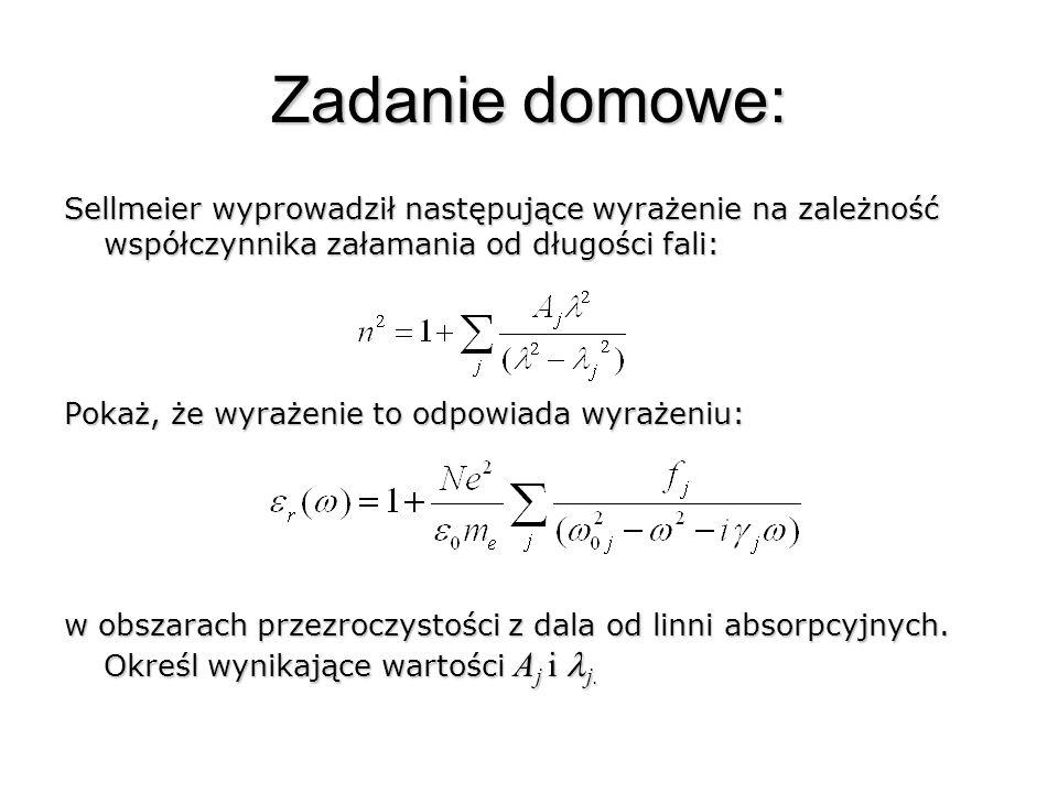 Zadanie domowe: Sellmeier wyprowadził następujące wyrażenie na zależność współczynnika załamania od długości fali: Pokaż, że wyrażenie to odpowiada wy