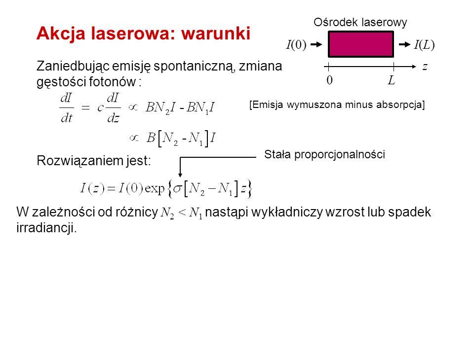 W zależności od różnicy N 2 < N 1 nastąpi wykładniczy wzrost lub spadek irradiancji. W równowadze termodynamicznej, zgodnie z rozkładem Boltzmana: N 2