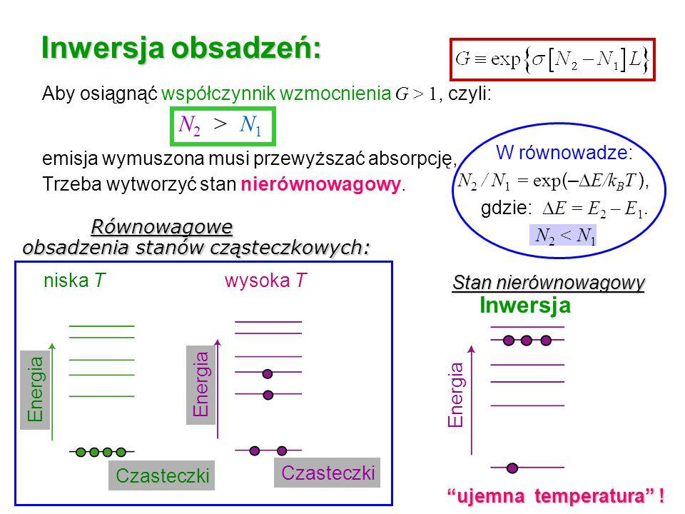 Aby osiągnąć współczynnik wzmocnienia G > 1, czyli: emisja wymuszona musi przewyższać absorpcję, Trzeba wytworzyć stan nierównowagowy. W równowadze: N