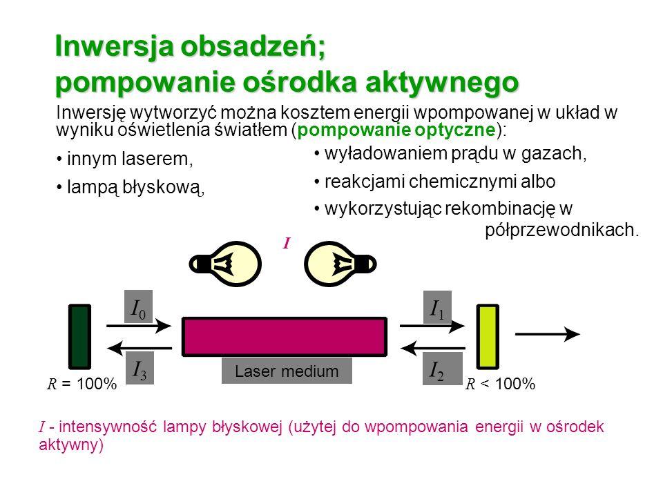 Inwersja obsadzeń; pompowanie ośrodka aktywnego Inwersję wytworzyć można kosztem energii wpompowanej w układ w wyniku oświetlenia światłem (pompowanie