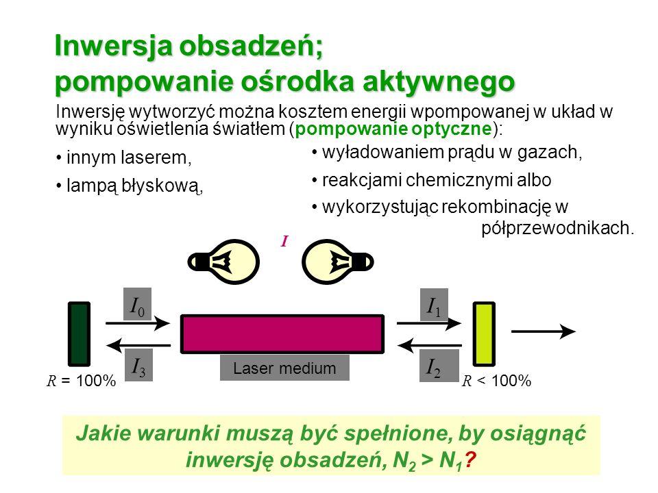 Inwersja obsadzeń; pompowanie ośrodka aktywnego Inwersję wytworzyć można kosztem energii wpompowanej w układ w wyniku oświetlenia światłem (pompowanie optyczne): innym laserem, lampą błyskową, R = 100% R < 100% I0I0 I1I1 I2I2 I3I3 Laser medium I I wyładowaniem prądu w gazach, reakcjami chemicznymi albo wykorzystując rekombinację w półprzewodnikach.