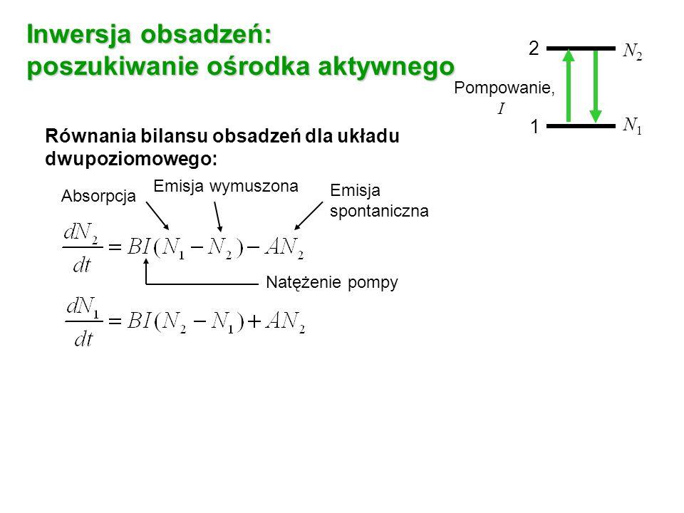Inwersja obsadzeń: poszukiwanie ośrodka aktywnego Równania bilansu obsadzeń dla układu dwupoziomowego: Absorpcja Emisja wymuszona Emisja spontaniczna N - całkowita liczba cząsteczek 2 1 N2N2 N1N1 Pompowanie, I Natężenie pompy