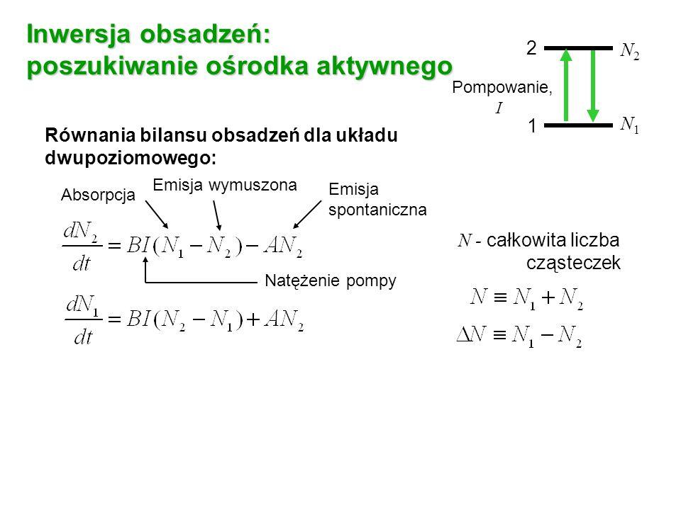 Równania bilansu obsadzeń dla układu dwupoziomowego: Absorpcja Emisja wymuszona Emisja spontaniczna N - całkowita liczba cząsteczek 2 1 N2N2 N1N1 Pompowanie, I Natężenie pompy Inwersja obsadzeń: poszukiwanie ośrodka aktywnego