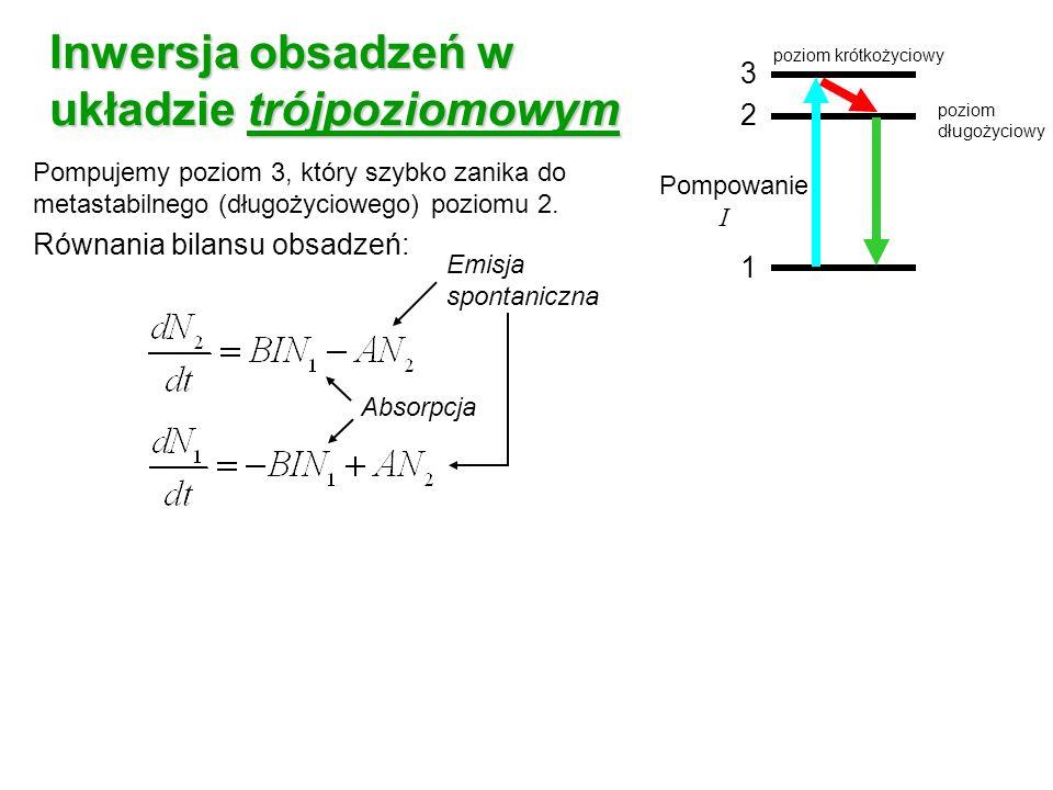 Inwersja obsadzeń w układzie trójpoziomowym Pompujemy poziom 3, który szybko zanika do metastabilnego (długożyciowego) poziomu 2. Równania bilansu obs