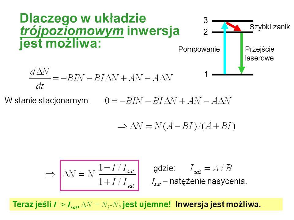 W stanie stacjonarnym: gdzie: Teraz jeśli I > I sat, N = N 1 -N 2 jest ujemne! Inwersja jest możliwa. I sat – natężenie nasycenia. Fast decay Przejści