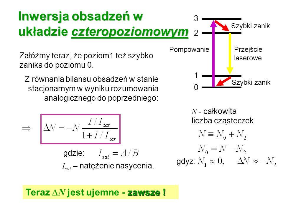 Inwersja obsadzeń w układzie czteropoziomowym Załóżmy teraz, że poziom1 też szybko zanika do poziomu 0. Z równania bilansu obsadzeń w stanie stacjonar