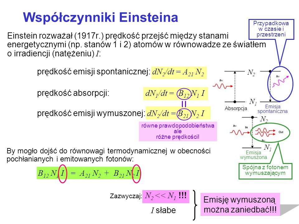 Einstein rozważał (1917r.) prędkość przejść między stanami energetycznymi (np. stanów 1 i 2) atomów w równowadze ze światłem o irradiencji (natężeniu)