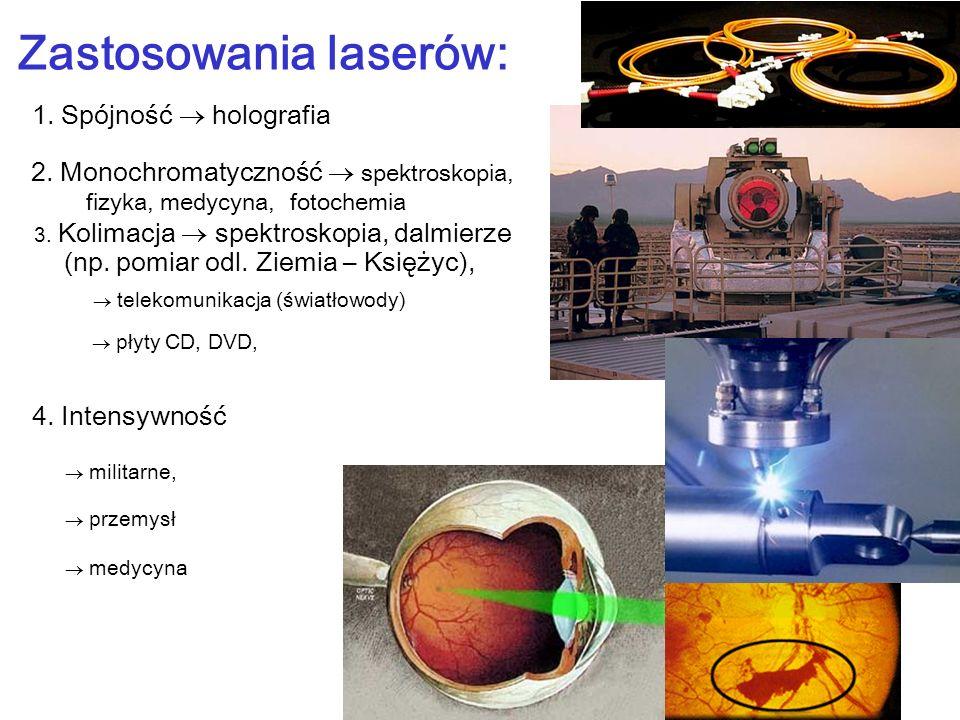 Zastosowania laserów: 1. Spójność holografia medycyna przemysł militarne, 4. Intensywność płyty CD, DVD, telekomunikacja (światłowody) 3. Kolimacja sp