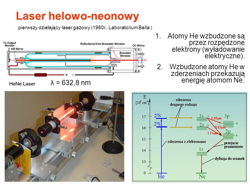 Laser helowo-neonowy 1.Atomy He wzbudzone są przez rozpędzone elektrony (wyładowanie elektryczne). 2.Wzbudzone atomy He w zderzeniach przekazują energ