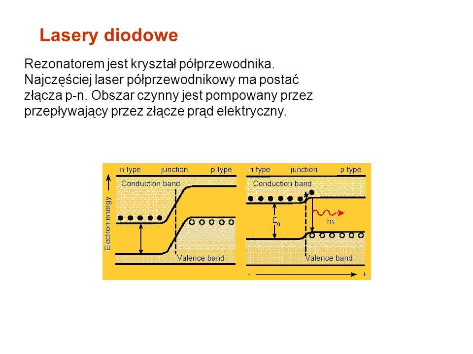 Lasery diodowe Rezonatorem jest kryształ półprzewodnika. Najczęściej laser półprzewodnikowy ma postać złącza p-n. Obszar czynny jest pompowany przez p