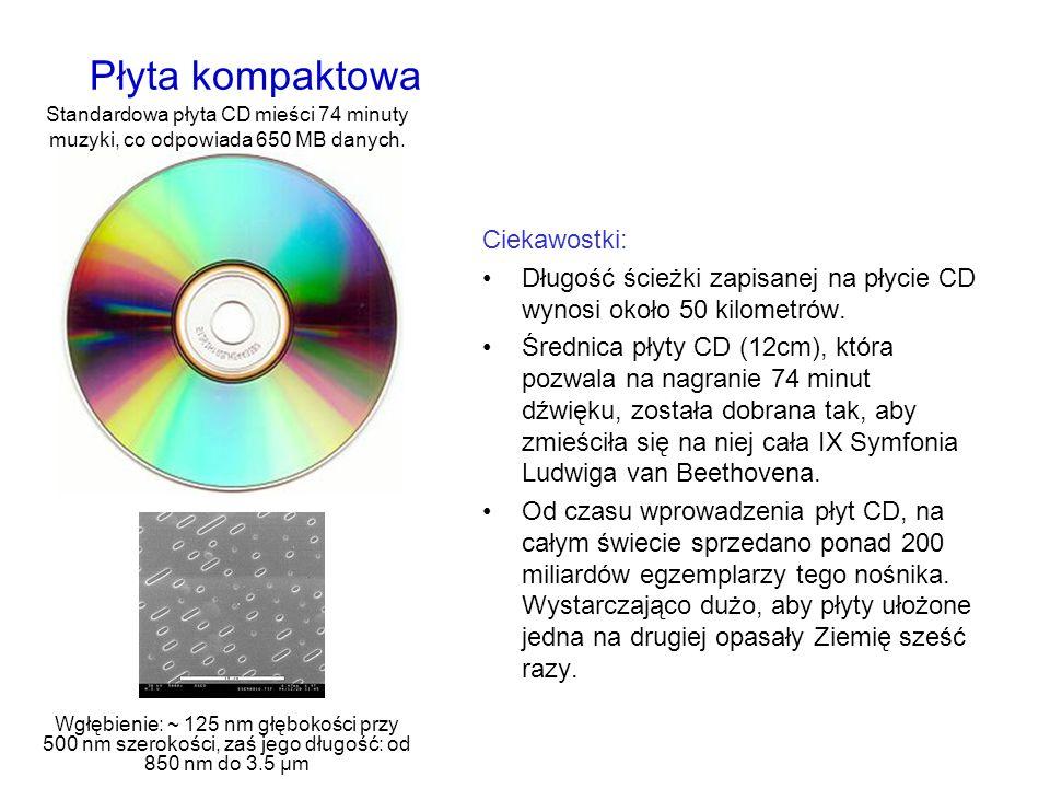Płyta kompaktowa Ciekawostki: Długość ścieżki zapisanej na płycie CD wynosi około 50 kilometrów. Średnica płyty CD (12cm), która pozwala na nagranie 7