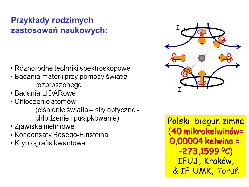 I I Polski biegun zimna 40 mikrokelwinów= (40 mikrokelwinów= 0,00004 kelwina = -273,1599 0 C -273,1599 0 C) IFUJ, Kraków, & IF UMK, Toruń Przykłady ro