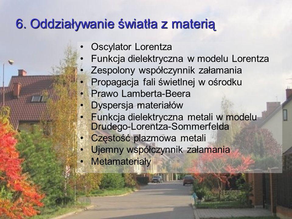 6. Oddziaływanie światła z materią Oscylator Lorentza Funkcja dielektryczna w modelu Lorentza Zespolony współczynnik załamania Propagacja fali świetln