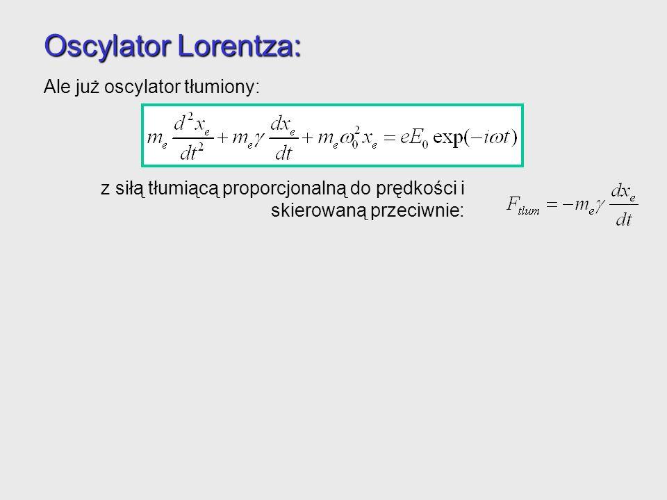 Oscylator Lorentza: Ale już oscylator tłumiony: posiada rozwiązanie: Elektron znowu oscyluje z częstością fali elektromagnetycznej, ale możliwe jest przesunięcie fazowe.