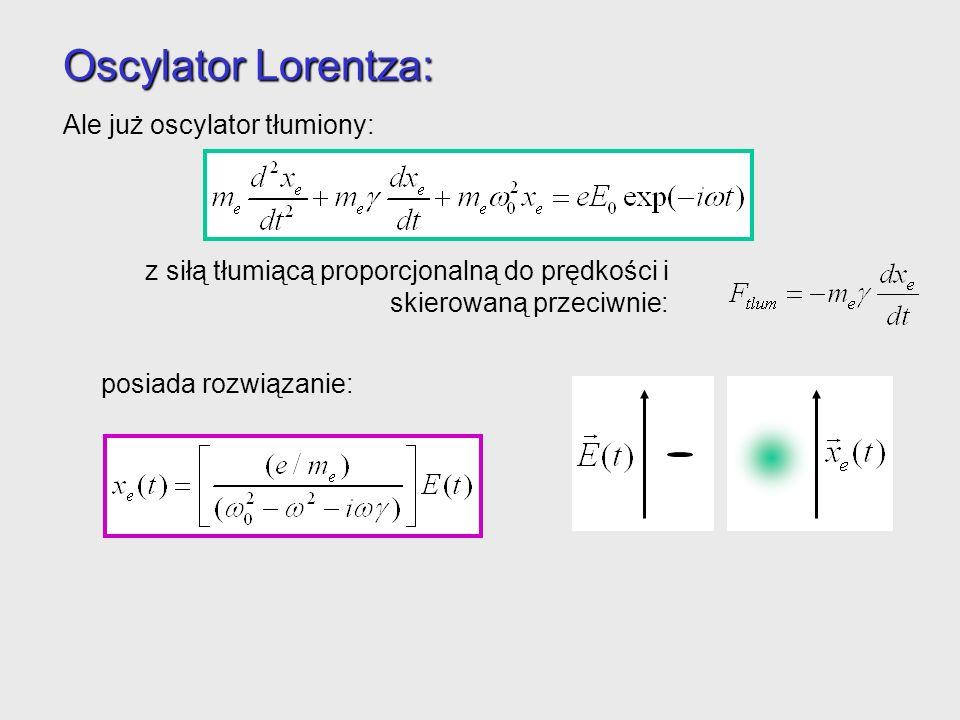 Oscylator Lorentza: Ale już oscylator tłumiony: posiada rozwiązanie: Elektron znowu oscyluje z częstością fali elektromagnetycznej, ale możliwe jest p