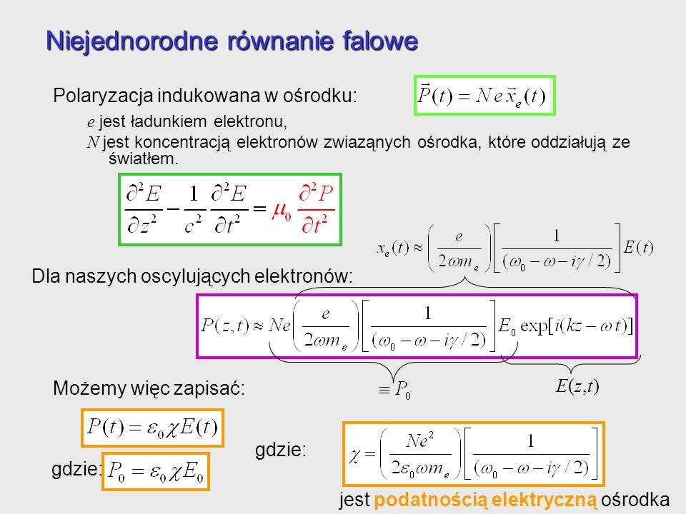 Niejednorodne równanie falowe Polaryzacja indukowana w ośrodku: e jest ładunkiem elektronu, N jest koncentracją elektronów zwiaząnych ośrodka, które o