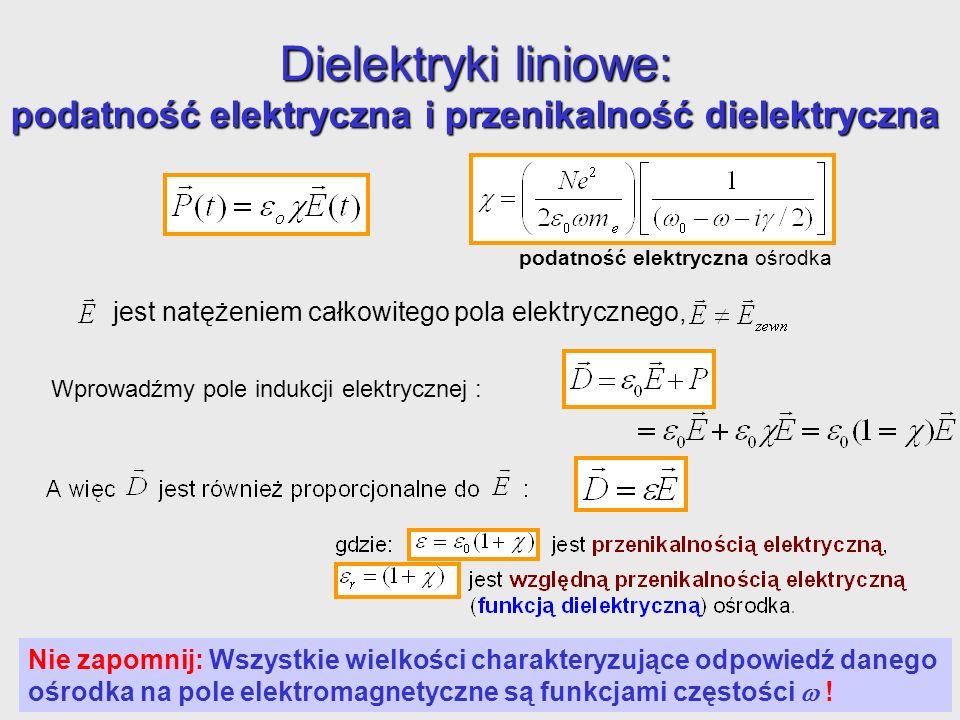Dielektryki liniowe: podatność elektryczna i przenikalność dielektryczna podatność elektryczna ośrodka jest natężeniem całkowitego pola elektrycznego,