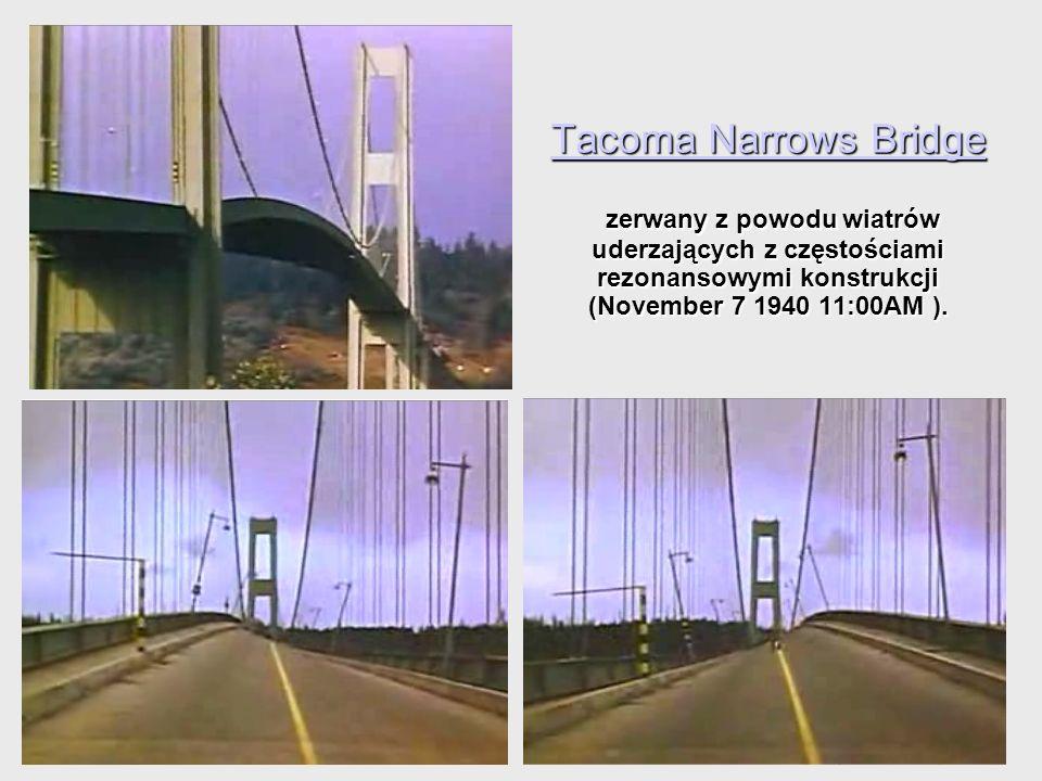 Tacoma Narrows Bridge Tacoma Narrows Bridge zerwany z powodu wiatrów uderzających z częstościami rezonansowymi konstrukcji (November 7 1940 11:00AM ).