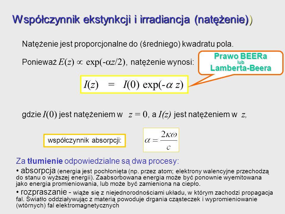Natężenie jest proporcjonalne do (średniego) kwadratu pola. Ponieważ E(z) exp(- z/2), natężenie wynosi: Współczynnik ekstynkcji i irradiancja (natężen