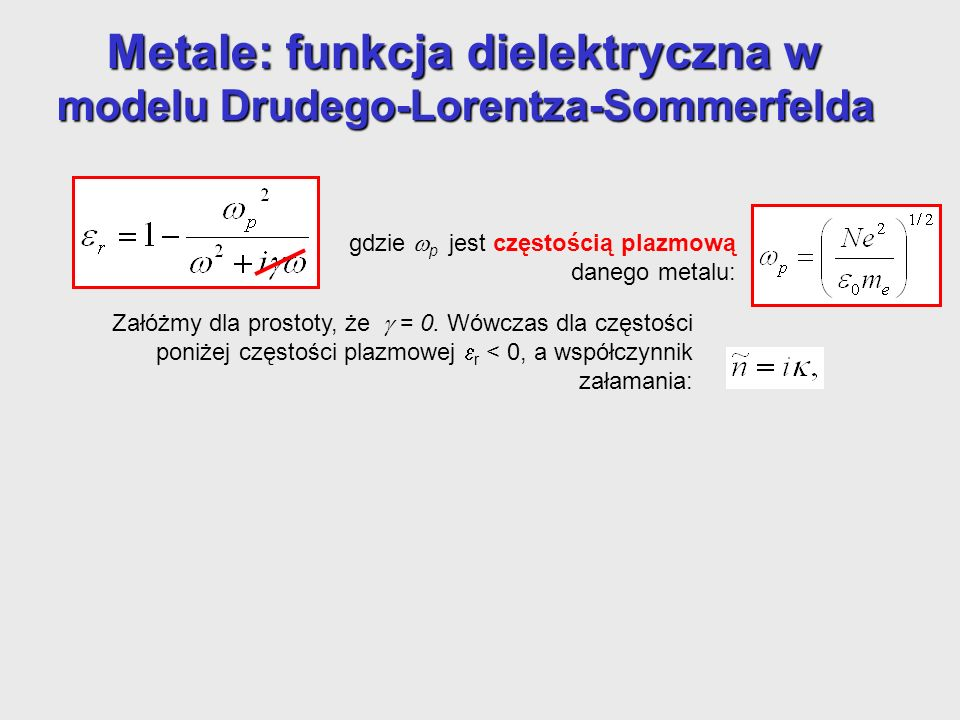 Metale: funkcja dielektryczna w modelu Drudego-Lorentza-Sommerfelda gdzie p jest częstością plazmową danego metalu: Załóżmy dla prostoty, że = 0. Wówc