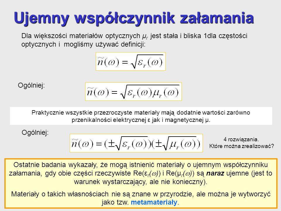 Dla większości materiałów optycznych μ r jest stała i bliska 1dla częstości optycznych i mogliśmy używać definicji: Ujemny współczynnik załamania Osta