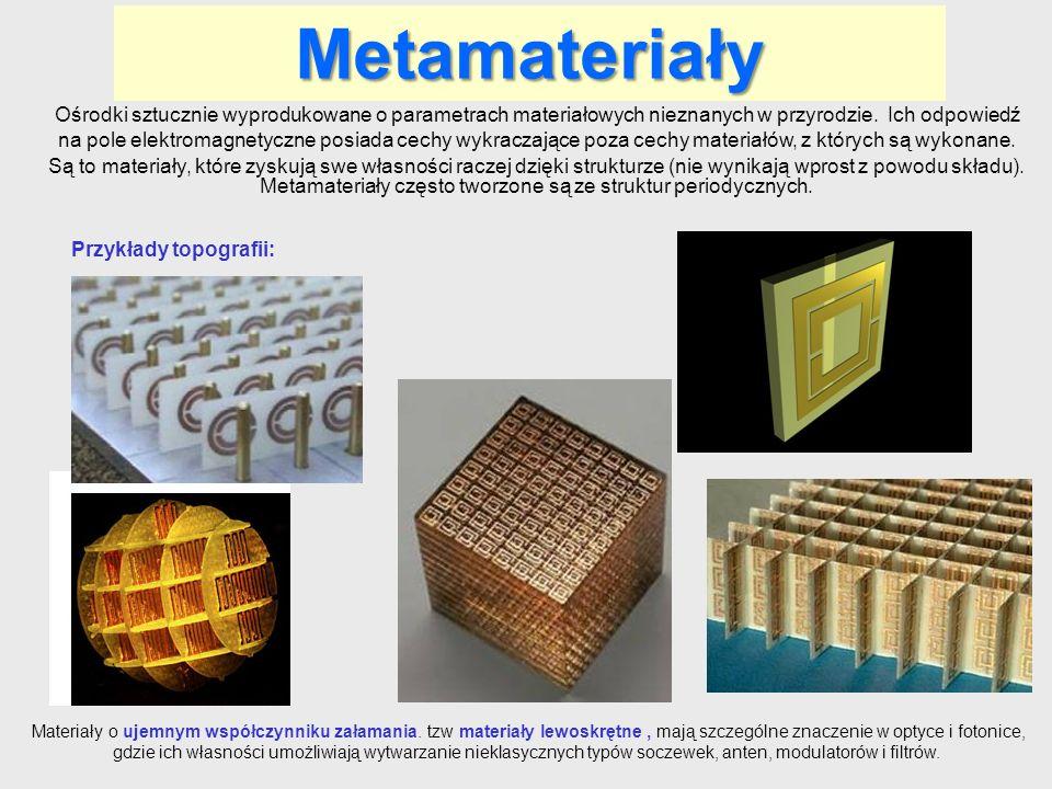 Metamateriały Ośrodki sztucznie wyprodukowane o parametrach materiałowych nieznanych w przyrodzie. Ich odpowiedź na pole elektromagnetyczne posiada ce
