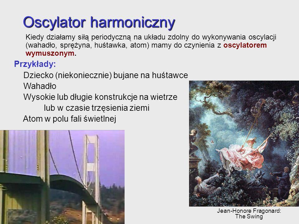 Oscylator harmoniczny Kiedy działamy siłą periodyczną na układu zdolny do wykonywania oscylacji (wahadło, sprężyna, huśtawka, atom) mamy do czynienia