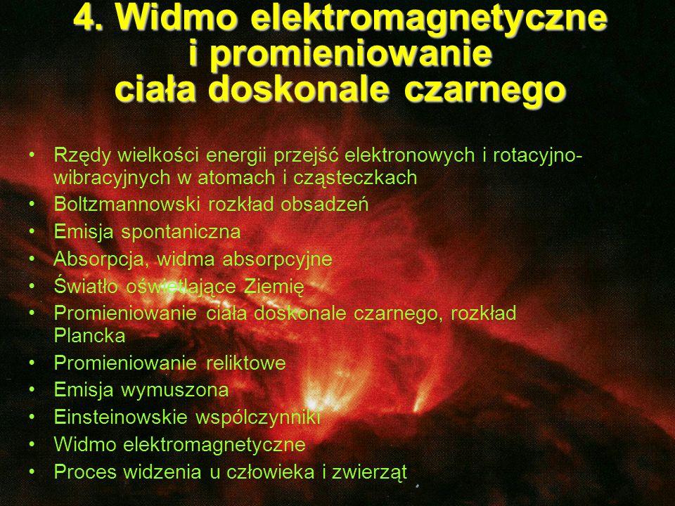 Cząsteczka dwuatomowa: Rzędy wielkości energii przejść elektronowych i rotacyjno-wibracyjnych w atomach i cząsteczkach: Obraz dyskretnych poziomów energetycznych: stany wzbudzone stan podstawowy ~(10 14 – 10 17) Hz oscylacje: ~(10 11 – 10 13 )Hz rotacja: ~10 9 - 10 10 + E vib + E rot dodatkowe stopnie swobody odległość równowagowa E vib + E rot Atom: