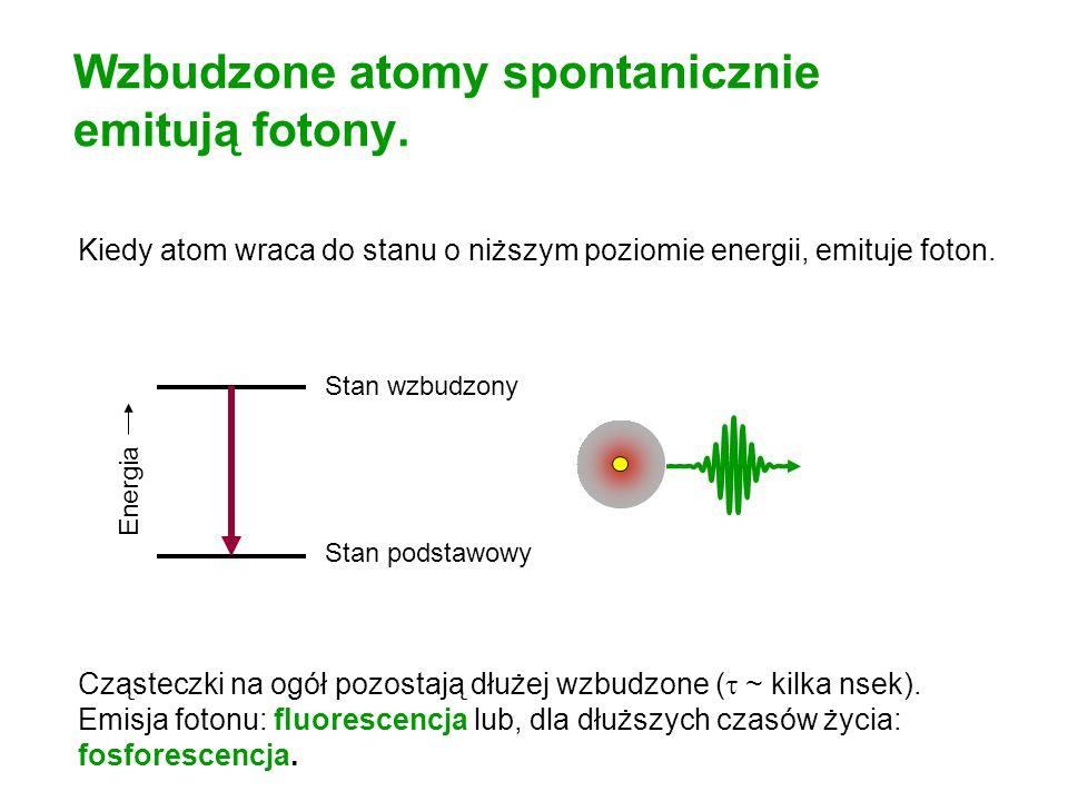 Wzbudzone atomy spontanicznie emitują fotony. Kiedy atom wraca do stanu o niższym poziomie energii, emituje foton. Cząsteczki na ogół pozostają dłużej
