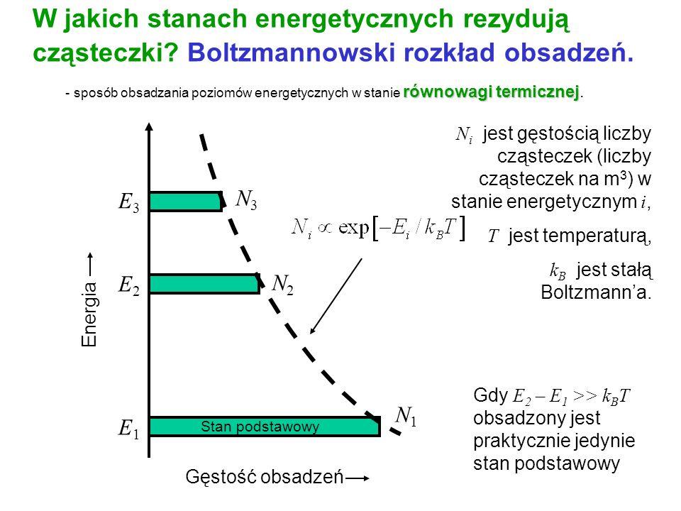 N i jest gęstością liczby cząsteczek (liczby cząsteczek na m 3 ) w stanie energetycznym i, T jest temperaturą, k B jest stałą Boltzmanna. Energia Gęst