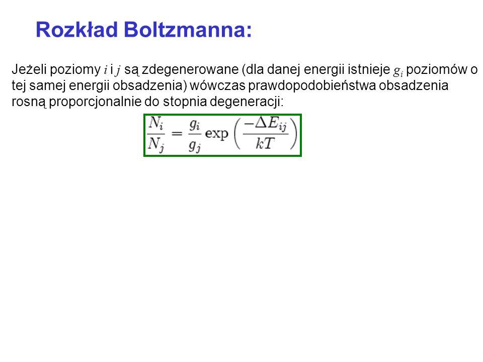 Rozkład Boltzmanna: Jeżeli poziomy i i j są zdegenerowane (dla danej energii istnieje g i poziomów o tej samej energii obsadzenia) wówczas prawdopodob