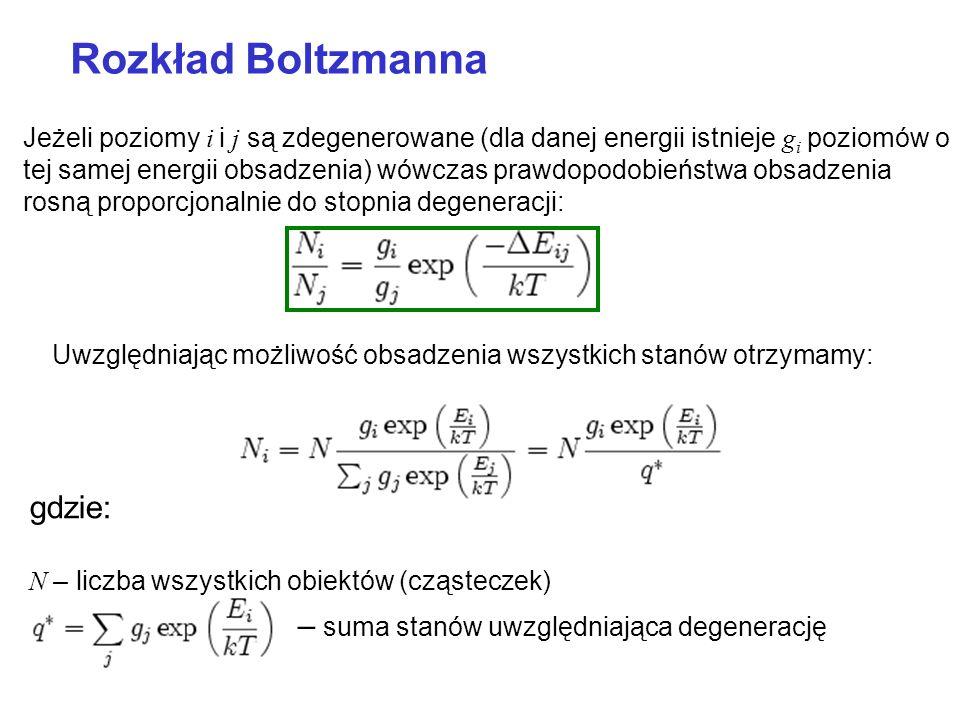 Rozkład Boltzmanna Uwzględniając możliwość obsadzenia wszystkich stanów otrzymamy: gdzie: N – liczba wszystkich obiektów (cząsteczek) – suma stanów uw