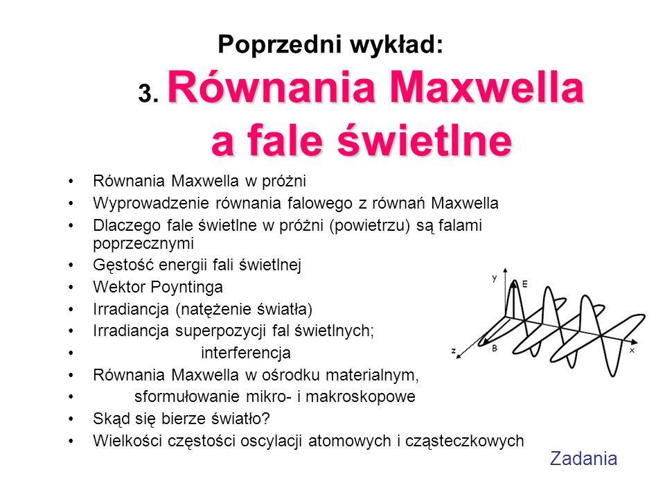 Zadania Równania Maxwella a fale świetlne Poprzedni wykład: 3. Równania Maxwella a fale świetlne Równania Maxwella w próżni Wyprowadzenie równania fal