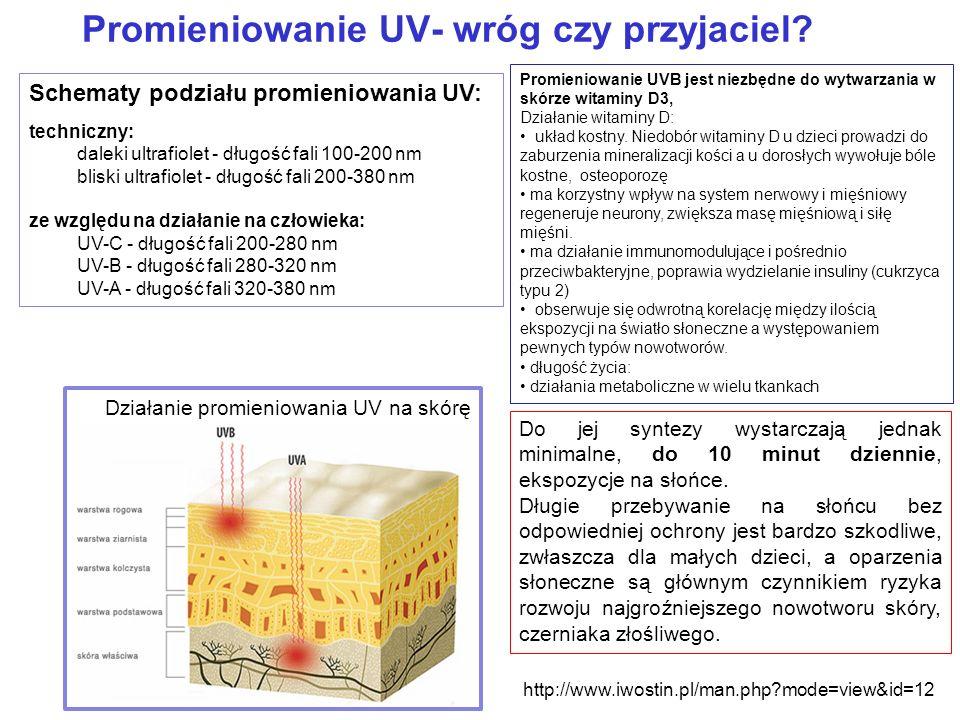Promieniowanie UV- wróg czy przyjaciel? Schematy podziału promieniowania UV: techniczny: daleki ultrafiolet - długość fali 100-200 nm bliski ultrafiol