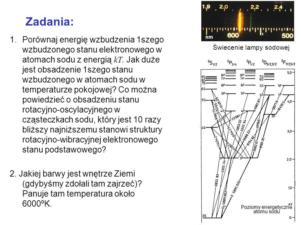 Zadania: 1.Porównaj energię wzbudzenia 1szego wzbudzonego stanu elektronowego w atomach sodu z energią kT. Jak duże jest obsadzenie 1szego stanu wzbud