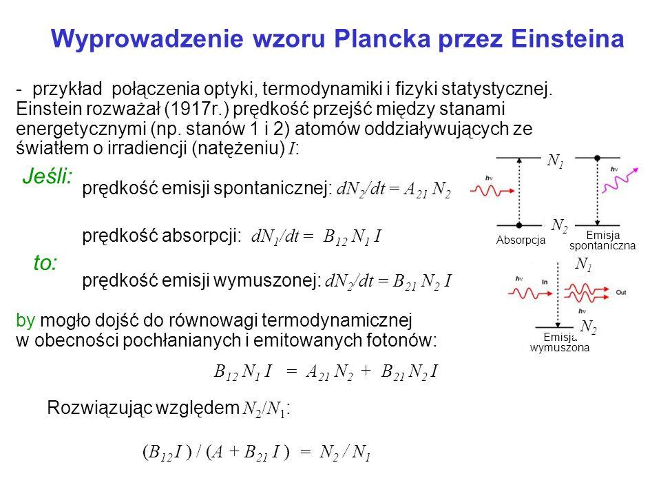 - przykład połączenia optyki, termodynamiki i fizyki statystycznej. Einstein rozważał (1917r.) prędkość przejść między stanami energetycznymi (np. sta