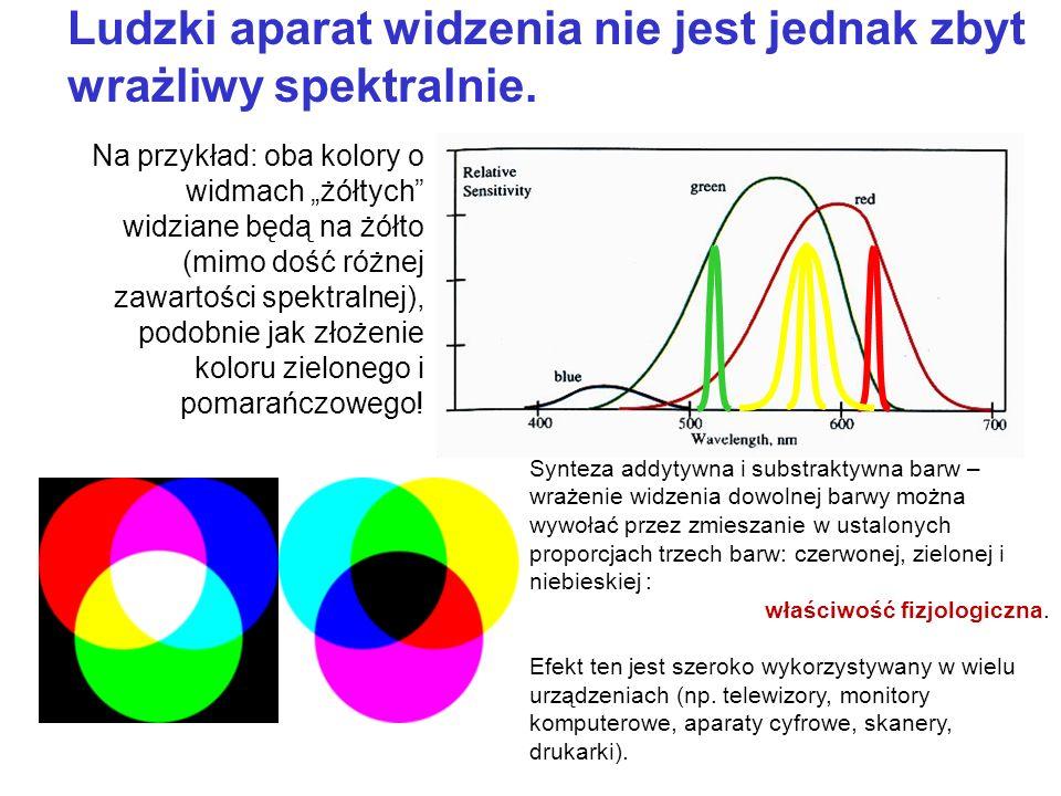 Ludzki aparat widzenia nie jest jednak zbyt wrażliwy spektralnie. Na przykład: oba kolory o widmach żółtych widziane będą na żółto (mimo dość różnej z