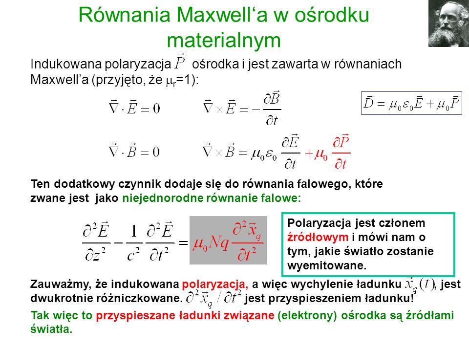 Indukowana polaryzacja ośrodka i jest zawarta w równaniach Maxwella (przyjęto, że r =1): Równania Maxwella w ośrodku materialnym Ten dodatkowy czynnik