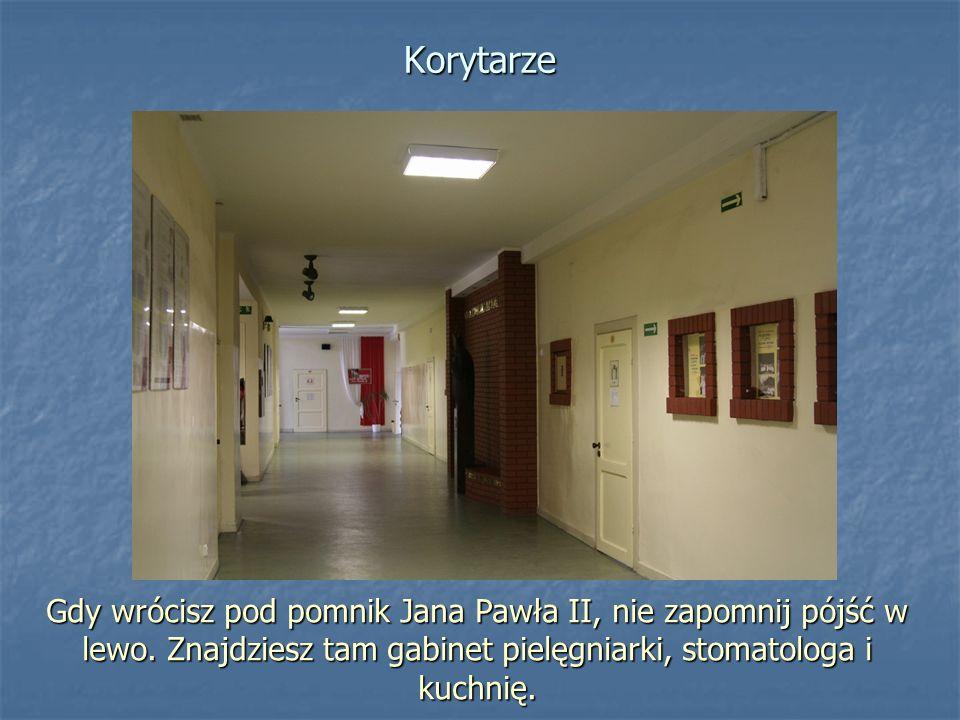 Gdy wrócisz pod pomnik Jana Pawła II, nie zapomnij pójść w lewo. Znajdziesz tam gabinet pielęgniarki, stomatologa i kuchnię. Korytarze