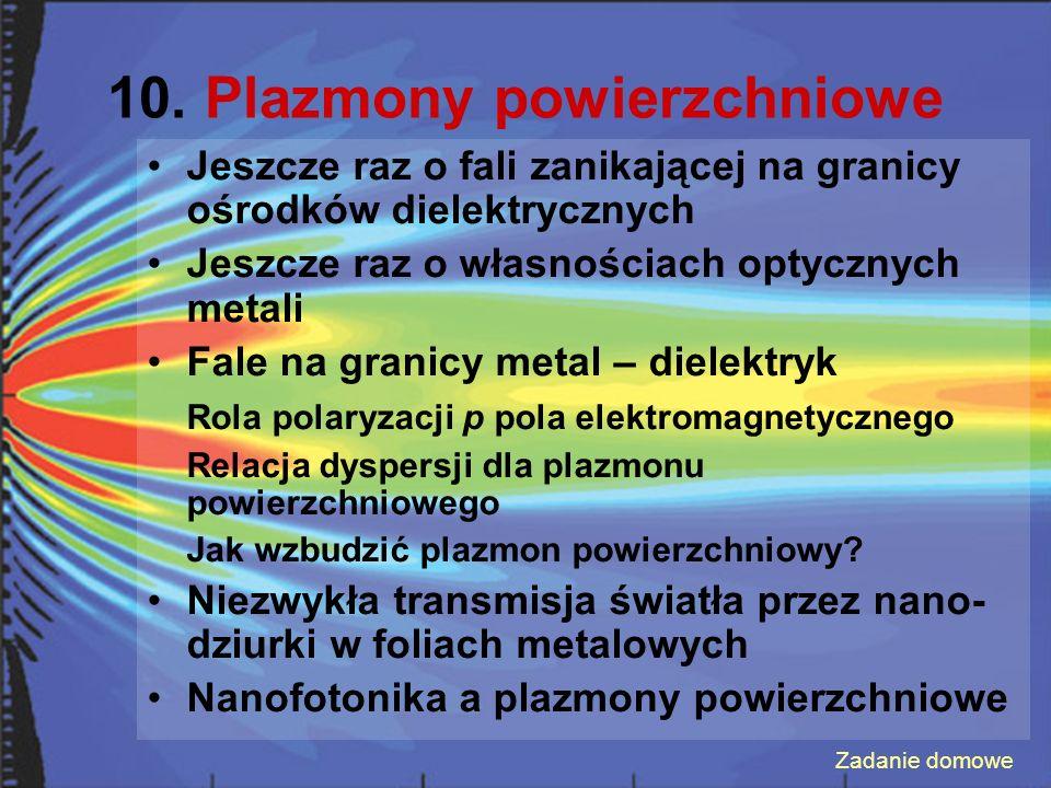 10. Plazmony powierzchniowe Jeszcze raz o fali zanikającej na granicy ośrodków dielektrycznych Jeszcze raz o własnościach optycznych metali Fale na gr
