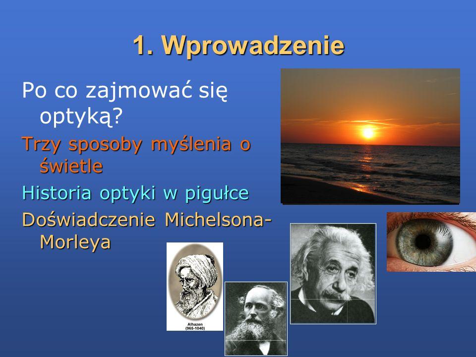 1. Wprowadzenie Po co zajmować się optyką? Trzy sposoby myślenia o świetle Historia optyki w pigułce Doświadczenie Michelsona- Morleya