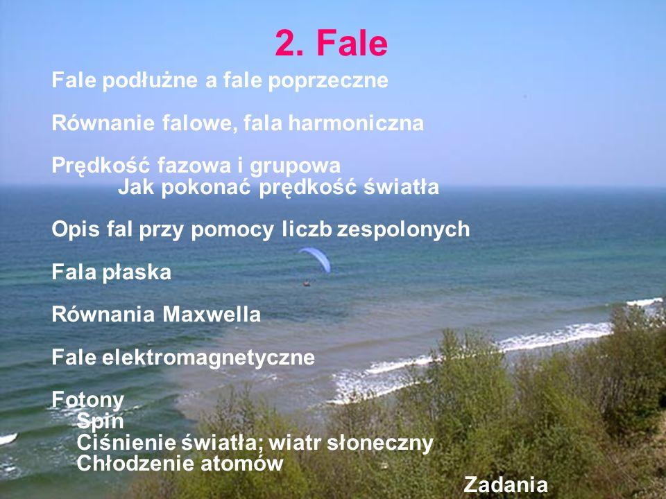 2. Fale Fale podłużne a fale poprzeczne Równanie falowe, fala harmoniczna Prędkość fazowa i grupowa Jak pokonać prędkość światła Opis fal przy pomocy