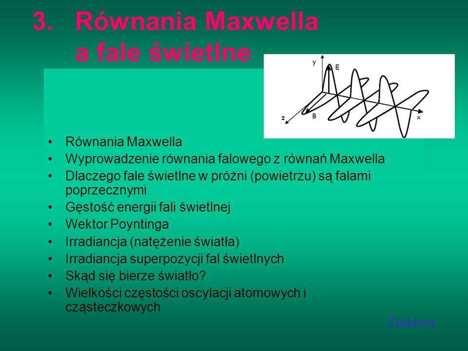 3.Równania Maxwella a fale świetlne Równania Maxwella Wyprowadzenie równania falowego z równań Maxwella Dlaczego fale świetlne w próżni (powietrzu) są