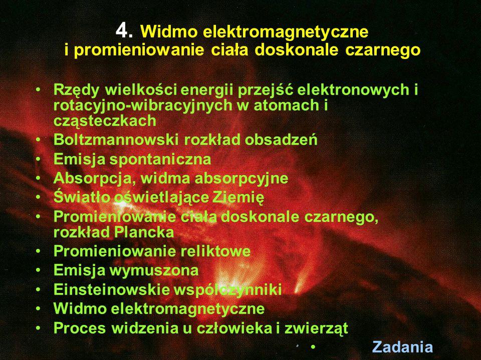 4. Widmo elektromagnetyczne i promieniowanie ciała doskonale czarnego Rzędy wielkości energii przejść elektronowych i rotacyjno-wibracyjnych w atomach