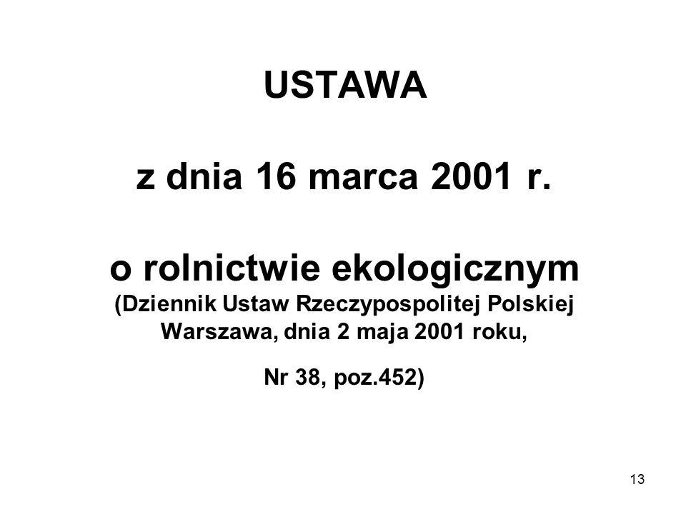 13 USTAWA z dnia 16 marca 2001 r. o rolnictwie ekologicznym (Dziennik Ustaw Rzeczypospolitej Polskiej Warszawa, dnia 2 maja 2001 roku, Nr 38, poz.452)